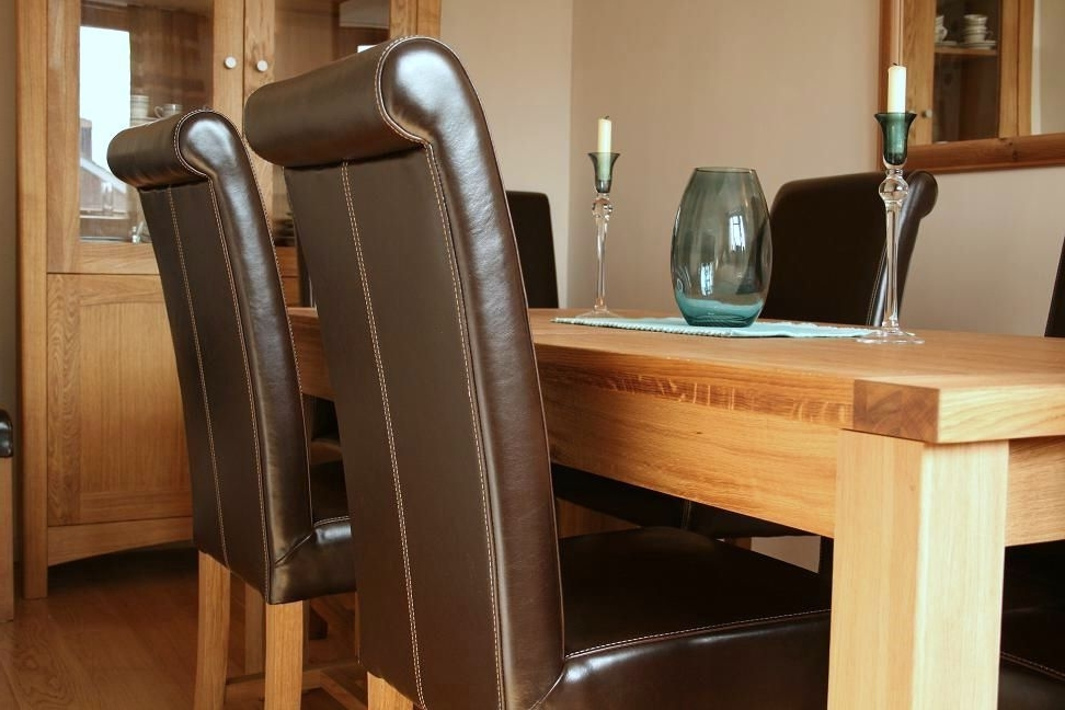 Famous Dark Brown Leather Dining Chairs Within Luxury Dining Table Set – Full Leather Titan Chairs (View 13 of 20)