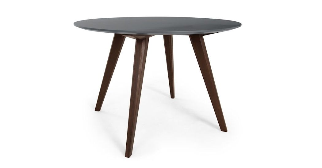 Famous Dark Dining Tables With Regard To Aveiro Round Dining Table, Dark Stain Oak And Grey (View 11 of 20)