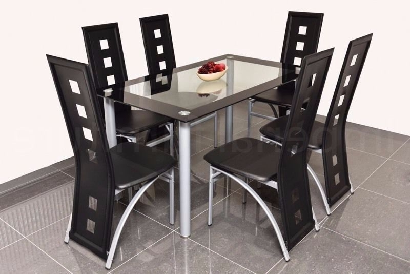 Famous Dining Table Chair Sets Regarding Modern Glass Dining Table And Chairs Set – Square Cut Outs Bargain (View 14 of 20)