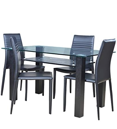Famous Dining Table Sets Throughout Hometown Presto Four Seater Dining Table Set (Black): Amazon (View 8 of 20)