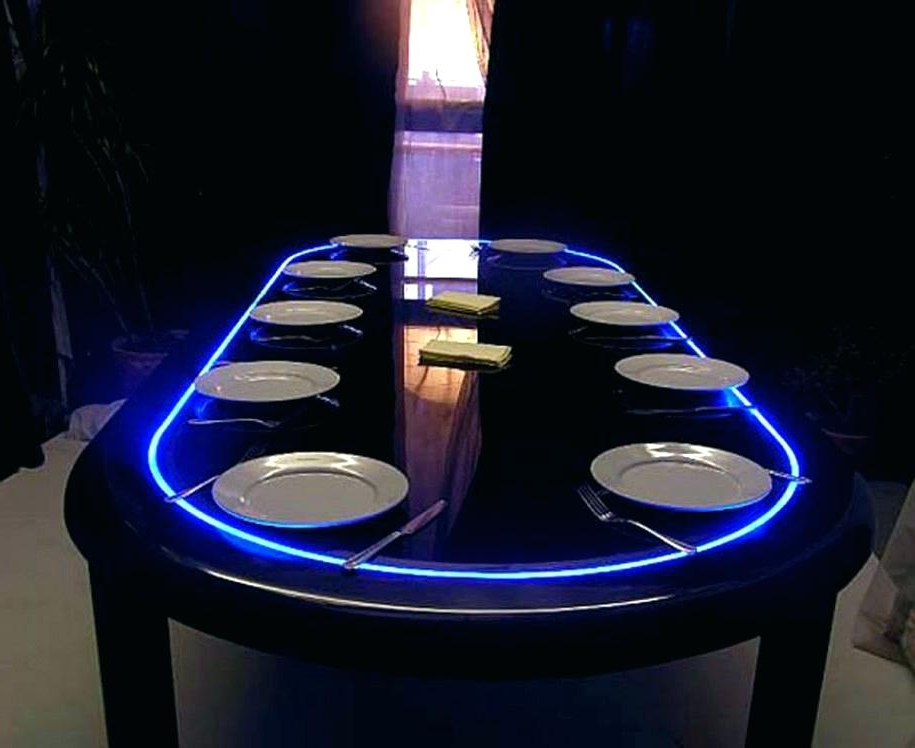 Famous Dining Table With Led Lights Set Blue 7 Piece Lit Com White Inside Led Dining Tables Lights (View 5 of 20)