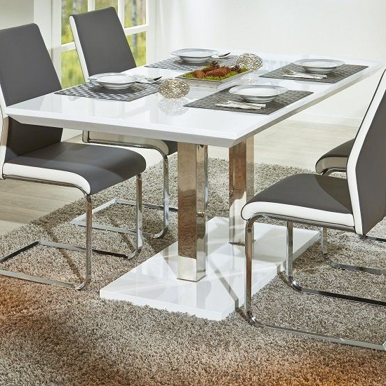 Famous Edmonton Dining Tables Intended For Edmonton Modern Extendable Dining Table In White High Gloss (View 13 of 20)