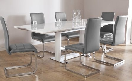 Famous Extendable Dining Tables 6 Chairs Intended For Tokyo White High Gloss Extending Dining Table And 6 Chairs Set (View 11 of 20)