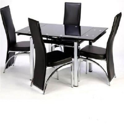 Famous Extending Glass Dining Table With 4 Chairs – Black Price From Konga Throughout Cheap Glass Dining Tables And 4 Chairs (View 5 of 20)