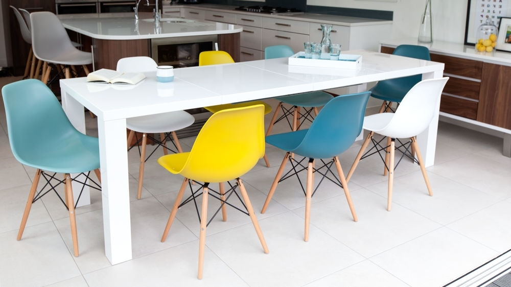 Famous Fern White Gloss Extending And Eames Style Dining Set With White Gloss Dining Chairs (View 5 of 20)