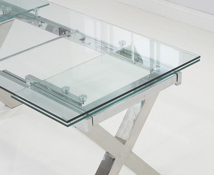Famous Glass Folding Dining Tables Pertaining To Gabriella Extendable Glass Dining Table 160 240Cm (View 4 of 20)