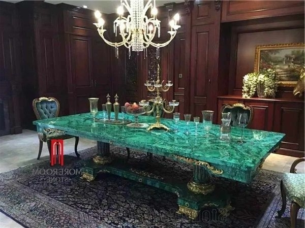Famous Green Malachite Price Dining Table Top Backlit Green Stone Inside Green Dining Tables (View 18 of 20)
