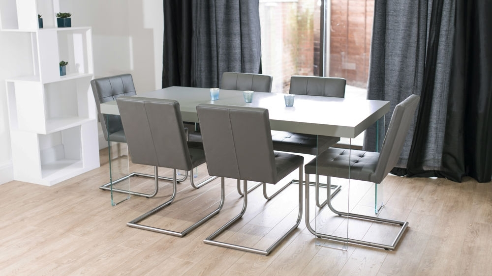 Famous Grey Dining Tables Intended For Grey Oak Dining Table With Glass Legs (View 6 of 20)