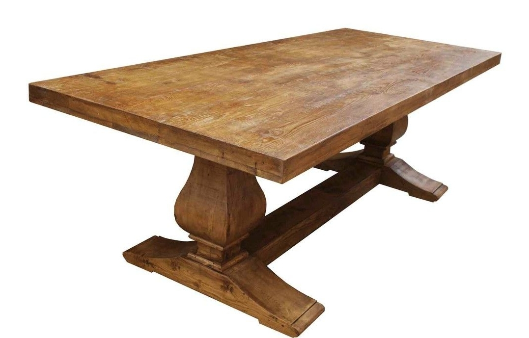 Famous Hand Made Segovia Reclaimed Wood Trestle Dining Tablemortise Inside Oval Reclaimed Wood Dining Tables (View 3 of 20)