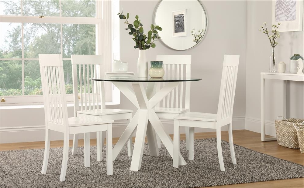 Famous Hatton Round White Wood And Glass Dining Table With 4 Oxford Chairs Within Glass Dining Tables White Chairs (View 20 of 20)