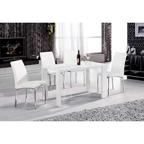 Famous High Gloss Dining Tables And Chairs Intended For White Gloss Dining Tables: Amazon.co (View 18 of 20)