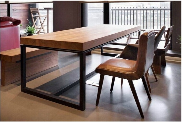 Famous Iron And Wood Dining Tables Throughout European Solid Wood Dining Table Rectangular Wood Dining Tables (View 3 of 20)