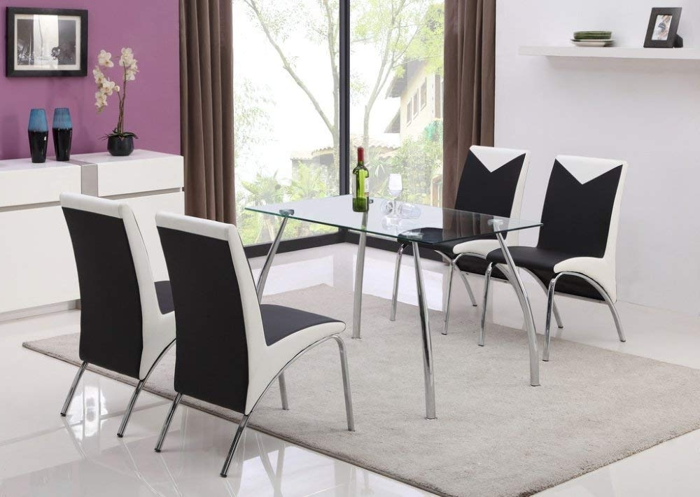 Famous Jane Harris Interiors Jhi Contemporary Glass Chrome Dining Room Regarding Chrome Dining Tables And Chairs (View 10 of 20)