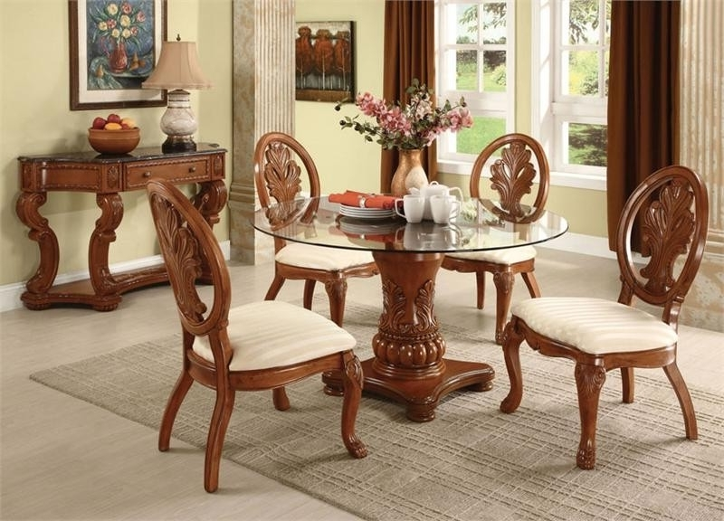 Famous Jaxon Grey 5 Piece Round Extension Dining Sets With Wood Chairs For 17 Beautiful 5 Piece Wood Dining Set (View 3 of 20)