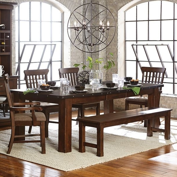 Famous Norwood 6 Piece Rectangular Extension Dining Sets With Upholstered Side Chairs Regarding Norwood Antique Oak Finish Extending Table Dining Set (View 3 of 20)