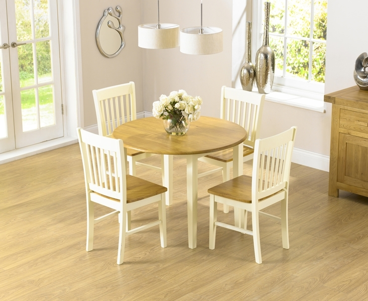 Famous Oak Extending Dining Tables And 4 Chairs Pertaining To Genoa 100Cm Drop Leaf Extending Dining Table Set With Chairs (View 4 of 20)
