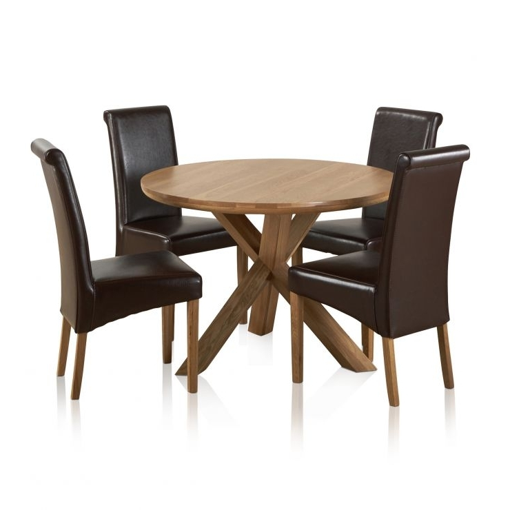 Famous Oak Leather Dining Chairs Within Natural Real Oak Dining Set: Round Table + 4 Brown Leather Chairs (View 6 of 20)