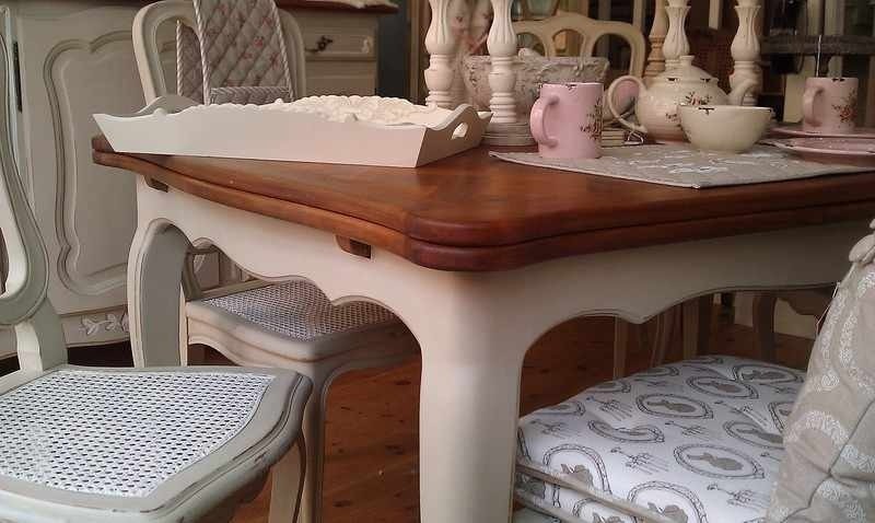 Famous Painted Shabby Chic Furniture Farmhouse Table Oak Extedning Table Inside Shabby Chic Extendable Dining Tables (View 4 of 20)