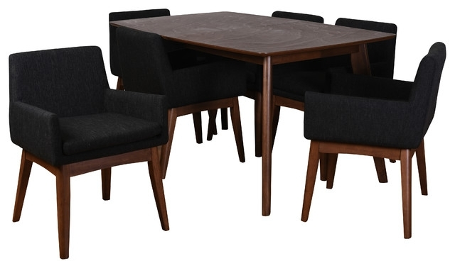 Famous Rocco 7 Piece Extension Dining Sets Within Ruby 7 Piece Dining Set – Midcentury – Dining Sets – (View 4 of 20)