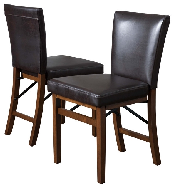 Famous Rosalynn Brown Leather Folding Dining Chairs, Set Of 2 In Black Folding Dining Tables And Chairs (View 11 of 20)