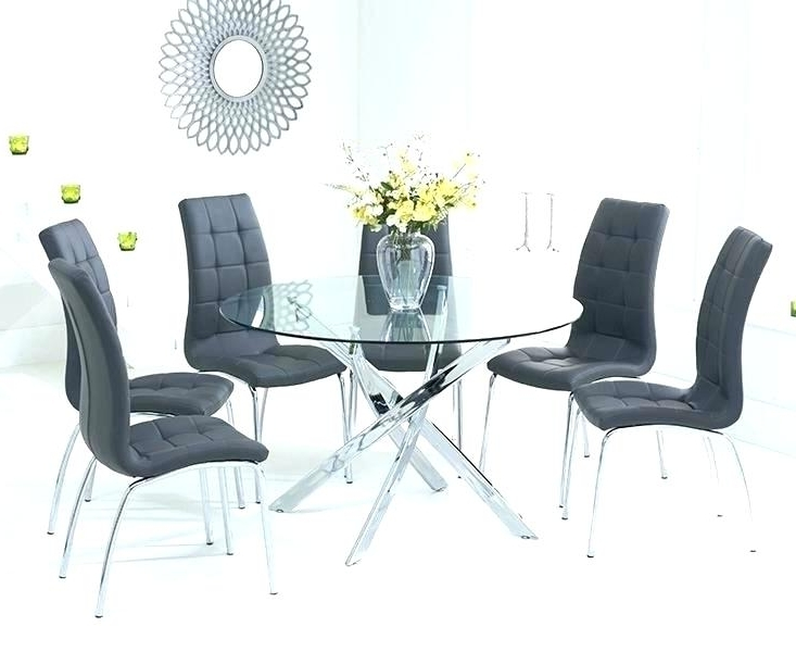 Famous Round Black Glass Dining Tables And Chairs Pertaining To Black Round Dining Table Set Round Black Glass Dining Table And (View 16 of 20)