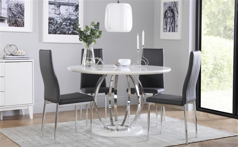 Famous Savoy Round White High Gloss And Chrome Dining Table With 4 Leon With Leon Dining Tables (View 12 of 20)