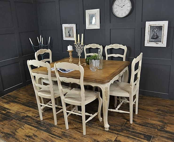 Famous Shabby Chic Cream Dining Tables And Chairs For 6 Seater Cream Extending Shabby Chic French Dining Setthe (View 6 of 20)