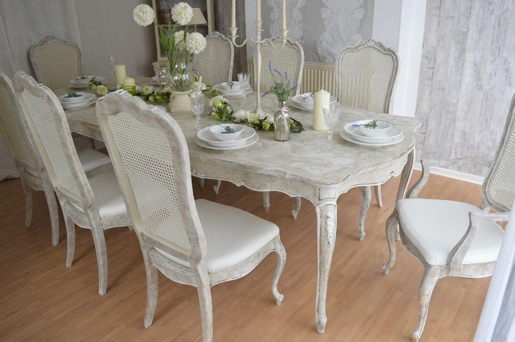 Famous Shabby Chic Dining Table And Chairs Set – Castrophotos Regarding French Chic Dining Tables (View 4 of 20)