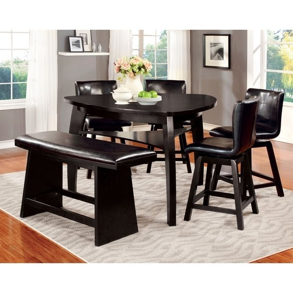 Famous Shop Furniture Of America Karille Modern Black Counter Height Dining In Black Wood Dining Tables Sets (View 3 of 20)