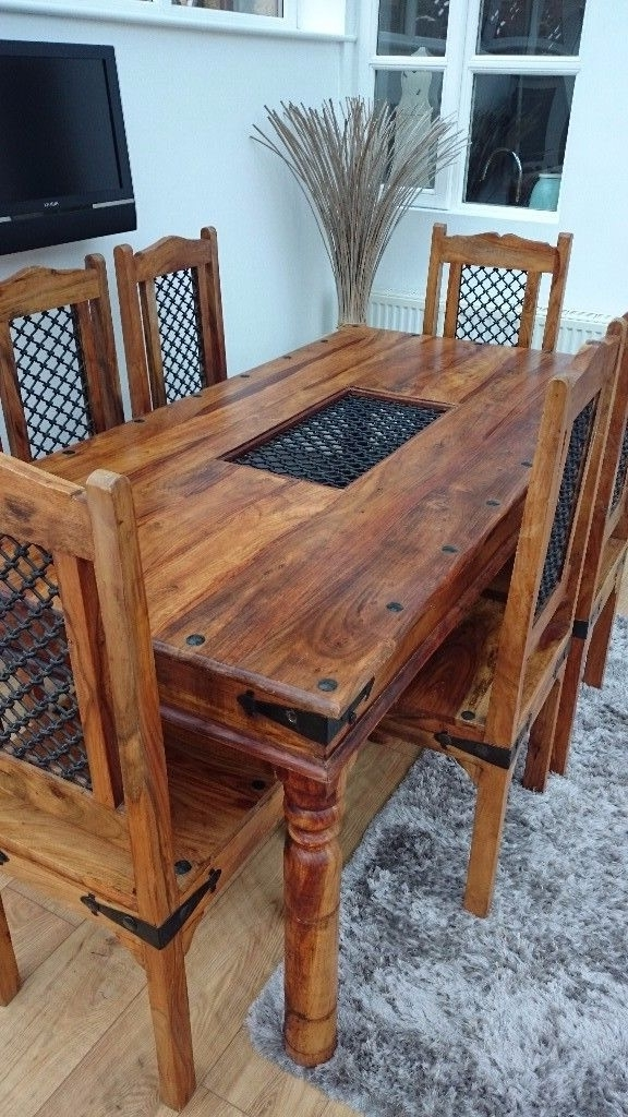 Famous Solid Indian Oak Dining Table & 6 Chairs (View 4 of 20)