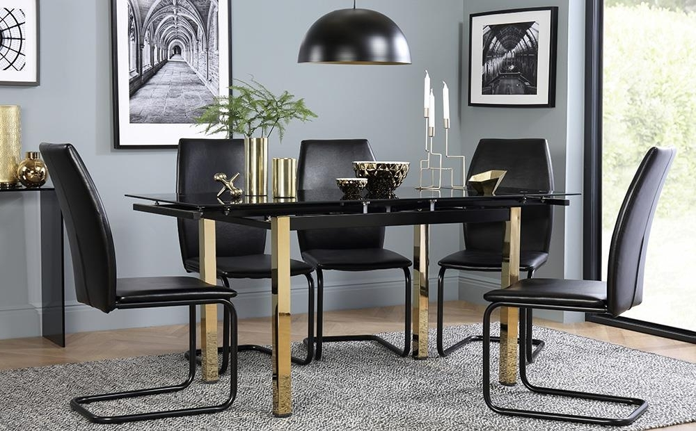 Famous Space Gold & Black Glass Extending Dining Table With 4 6 Pica Black Intended For Black Glass Extending Dining Tables 6 Chairs (View 7 of 20)