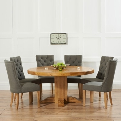 Famous Trina Solid Oak Round Dining Table With 6 Albany Grey Chairs With Regard To Oak Round Dining Tables And Chairs (View 6 of 20)