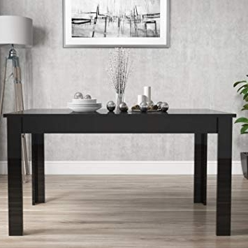 Famous Vivienne Extending Black High Gloss Dining Table: Tonka: Amazon (View 11 of 20)