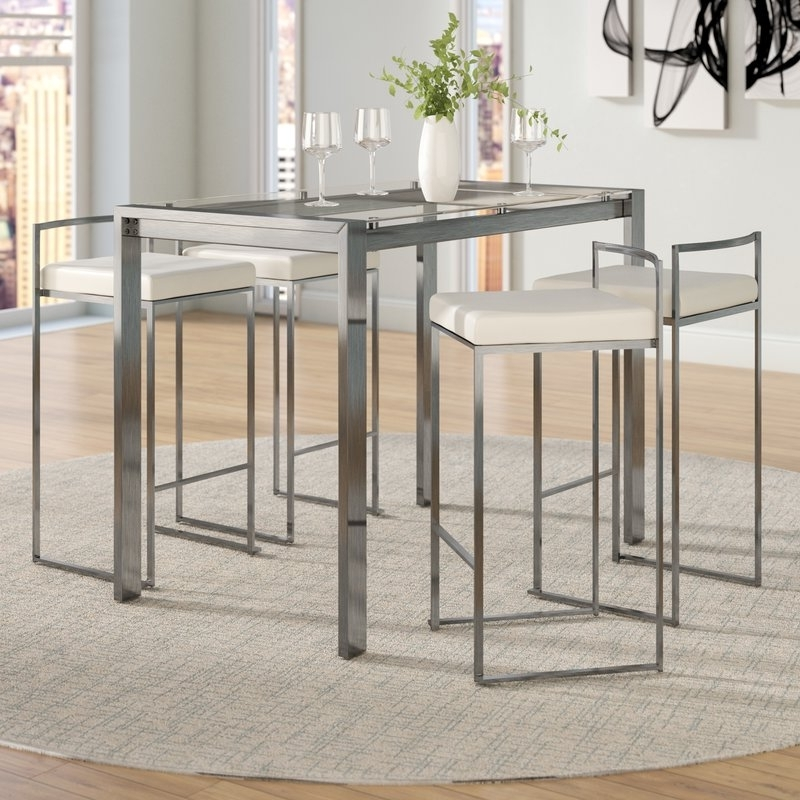Famous Wade Logan Gary 5 Piece Counter Height Dining Set & Reviews (View 4 of 20)