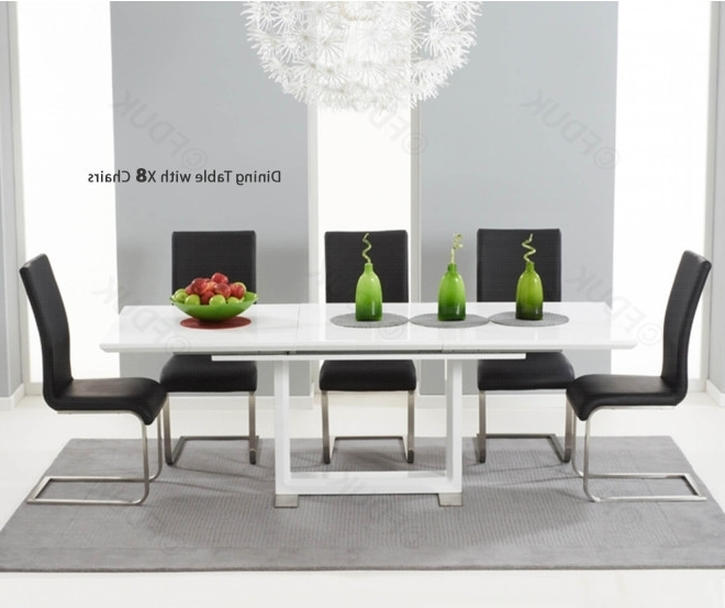 Famous White High Gloss Dining Chairs Inside Mark Harris Beckley White High Gloss Dining Set – 160Cm Rectangular (View 18 of 20)
