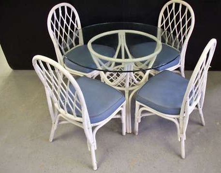 Famous Wicker And Glass Dining Tables Inside Glass Top Wicker Dining Table + 4 Chairs – Milwaukee, Wi (View 8 of 20)