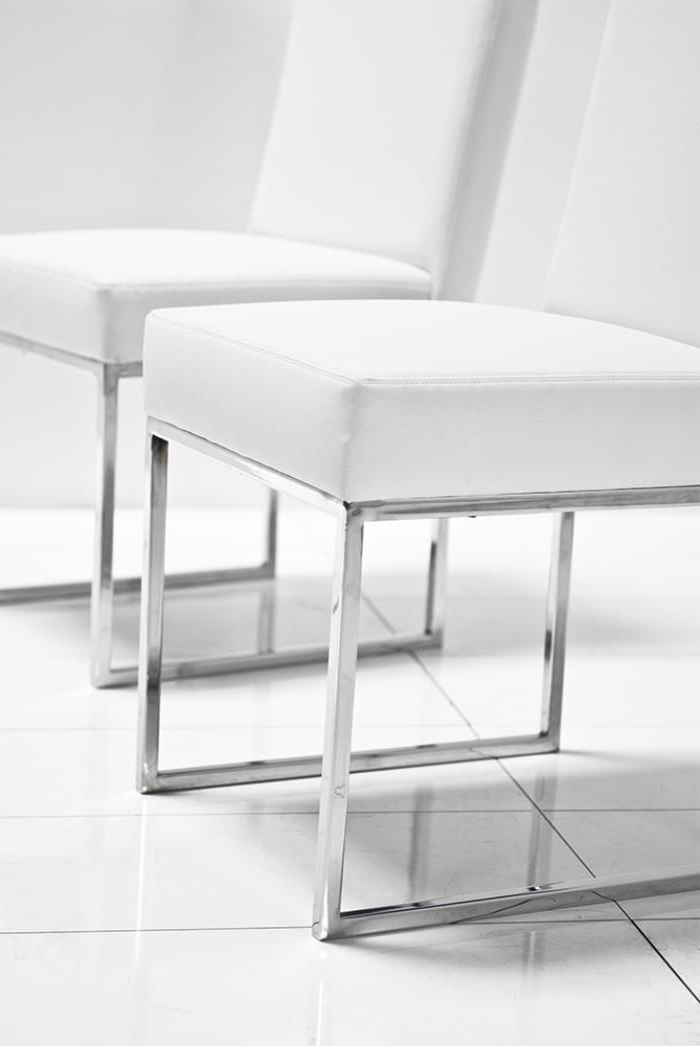 "Fashionable 007 Dining Chair In White Leather 18"" Length X 20"" Width/depth X 34 Inside White Leather Dining Room Chairs (View 2 of 20)"