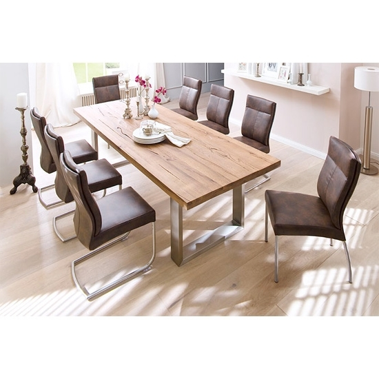 Fashionable 8 Seater Dining Tables Regarding Capello Solid Oak 8 Seater Dining Table With Charles Chairs (View 14 of 20)