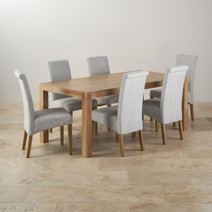 Fashionable Alto Solid Oak 6Ft Dining Table With 6 Grey Fabric Chairs Throughout Dining Tables With Grey Chairs (View 10 of 20)
