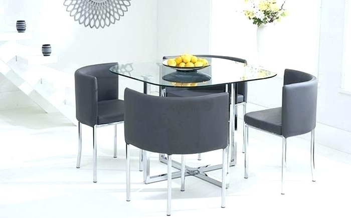 Fashionable Amazing Glass Dining Table And Chairs Set Round Top 4 Cheap Sets Intended For Glass Dining Tables And Chairs (View 7 of 20)