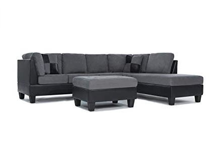 Fashionable Amazon: 3 Piece Modern Reversible Microfiber / Faux Leather Intended For Blaine 4 Piece Sectionals (View 7 of 15)