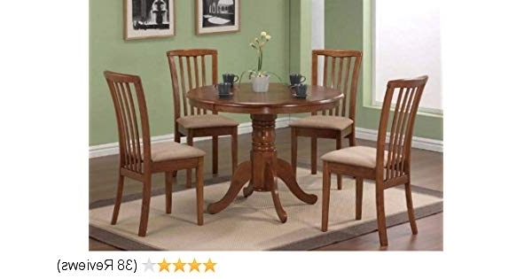 Fashionable Amazon – 5Pc Pedestal Dining Table & Chairs Set Dark Oak Finish Within Gavin 7 Piece Dining Sets With Clint Side Chairs (View 4 of 20)