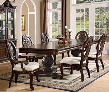 Fashionable Amazon – 7Pc Formal Dining Table & Chairs Set With Claw Design Regarding Market 6 Piece Dining Sets With Host And Side Chairs (View 3 of 20)