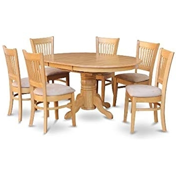 Fashionable Amazon: East West Furniture Avat7 Blk W 7 Piece Dining Table Set For Jaxon Grey 5 Piece Round Extension Dining Sets With Upholstered Chairs (View 6 of 20)