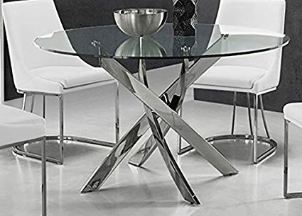Fashionable Amazon – Galaxy Chrome/clear Glass Dining Tablecasabianca Regarding Chrome Dining Tables (View 8 of 20)