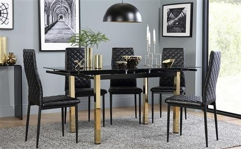 Fashionable Black Extendable Dining Tables And Chairs In Extendable Dining Table & Chairs – Extending Dining Sets (View 11 of 20)