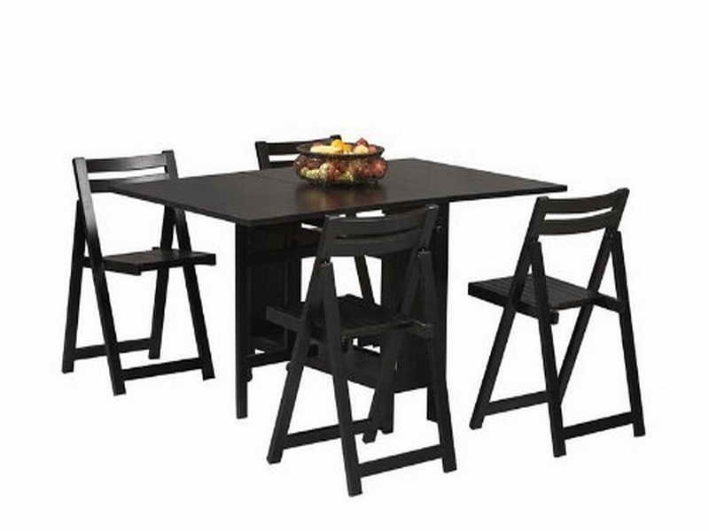 Fashionable Black Folding Dining Tables And Chairs In Folding Table And Chair Set Black — Inspire Furniture Ideas (View 11 of 20)