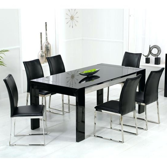 Fashionable Black Glass Dining Tables 6 Chairs With Regard To Sublime Black Glass Dining Room Table Black Glass Dining Table Set (View 7 of 20)