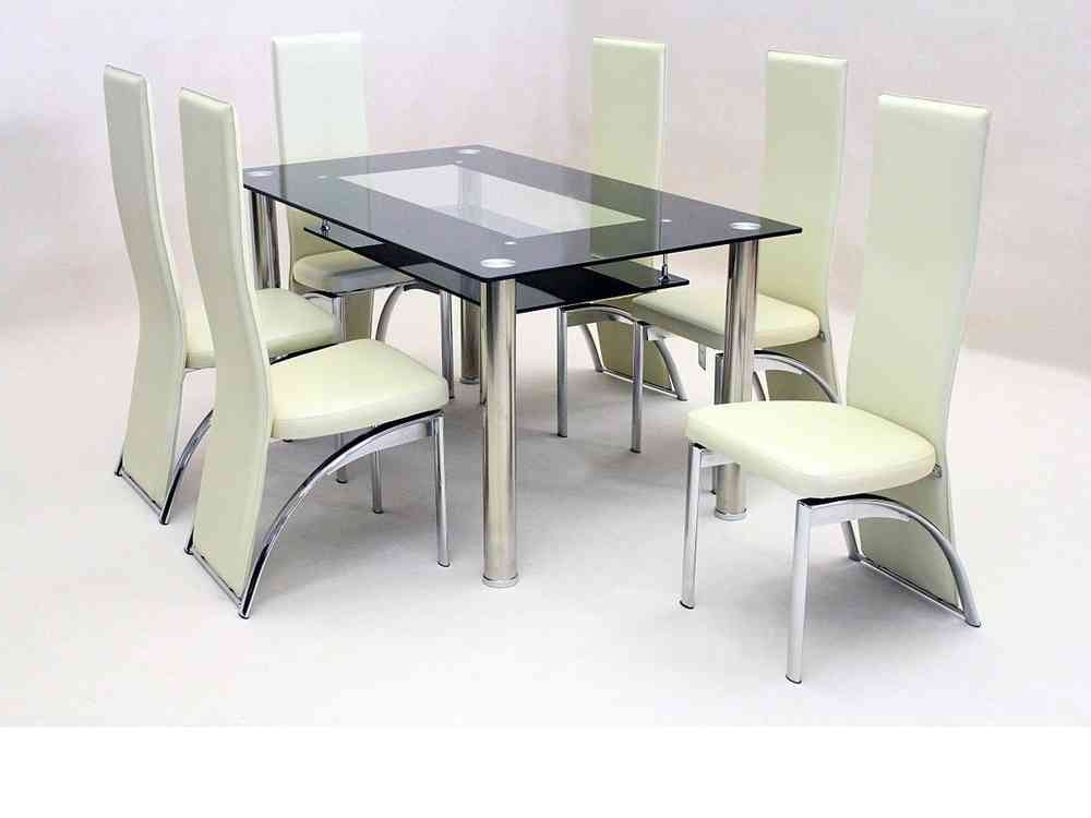 Fashionable Black Glass Dining Tables And 6 Chairs In Black Glass Dining Table And 6 Faux Chairs In Cream – Homegenies (View 8 of 20)