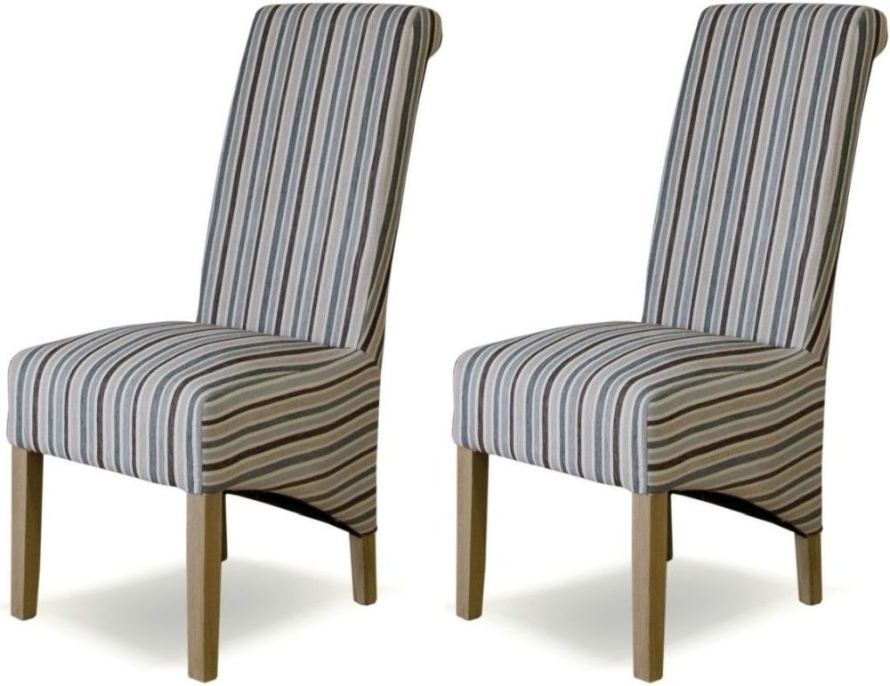 Fashionable Buy Homestyle Gb Richmond Striped Natural Fabric Dining Chair (Pair In Fabric Covered Dining Chairs (View 11 of 20)